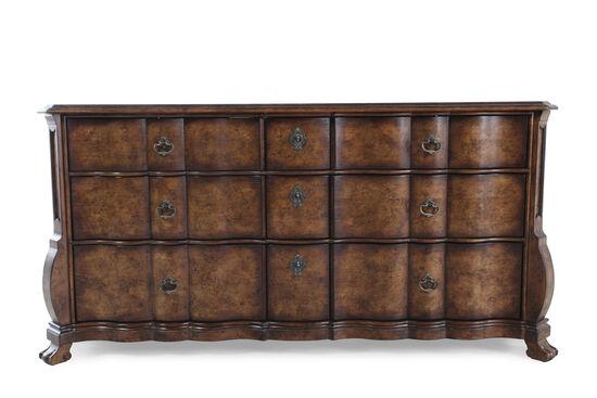 """38"""" Solid Radiata Serpentine Dresser in Dark Brown"""
