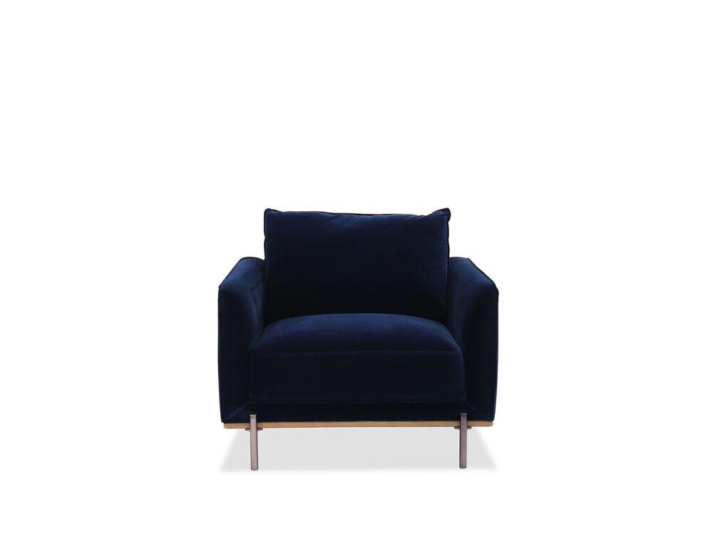 Casual Velvet Chair in Blue