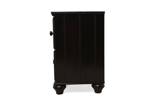 Transitional Beveled Two-Drawer Youth Nightstand in Black
