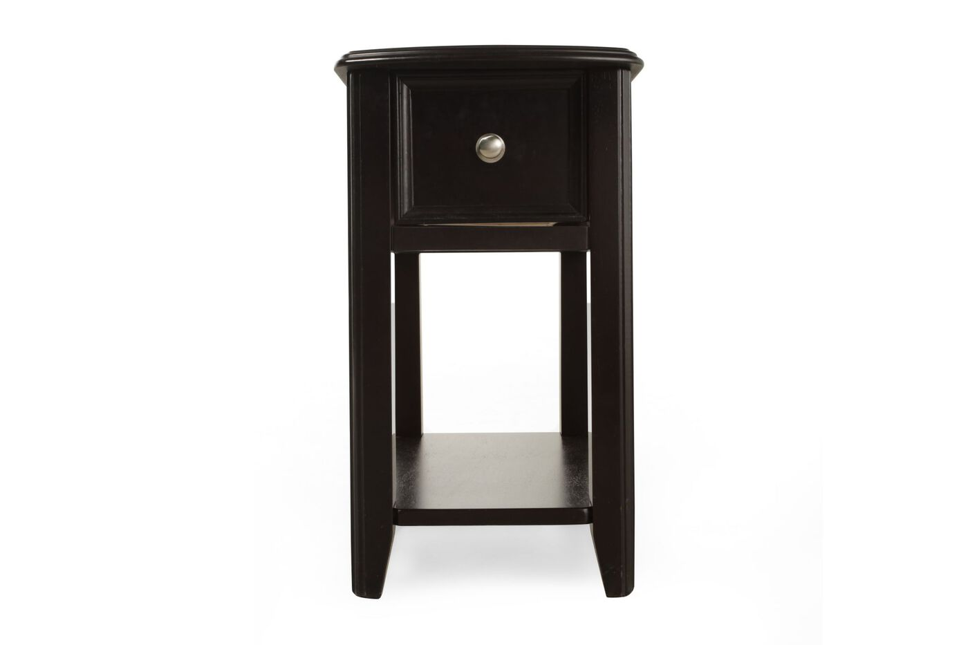 open shelf contemporary chairside accent table in black mathis brothers furniture. Black Bedroom Furniture Sets. Home Design Ideas