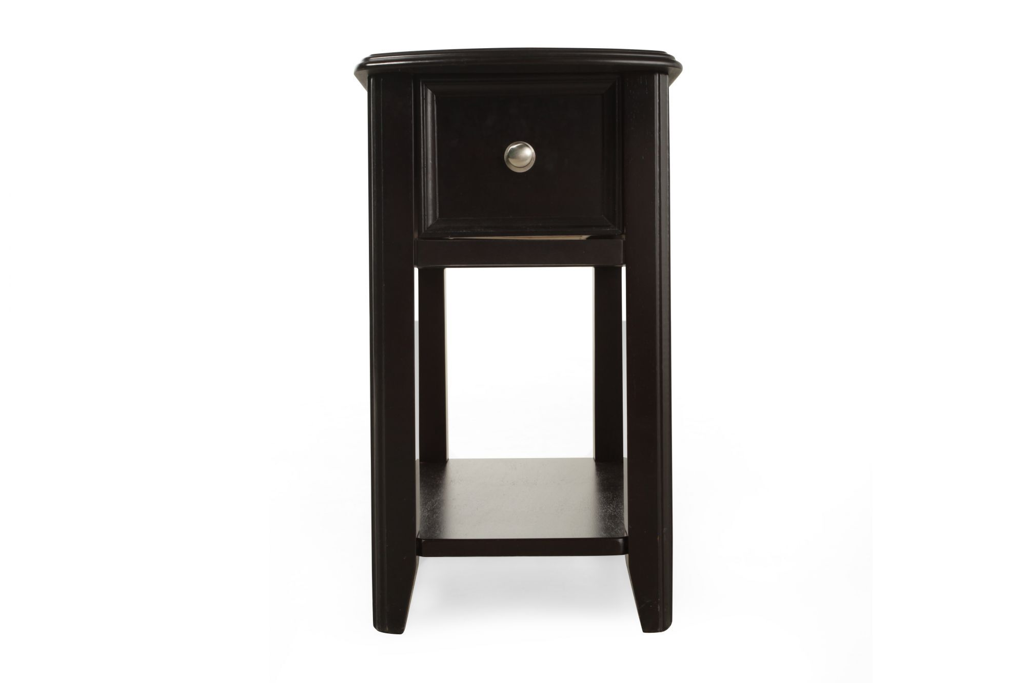 Open Shelf Contemporary Chairside Accent Table In Black