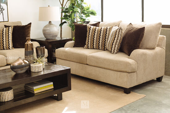 """Rolled Arm Traditional 69"""" Loveseat in Brown"""