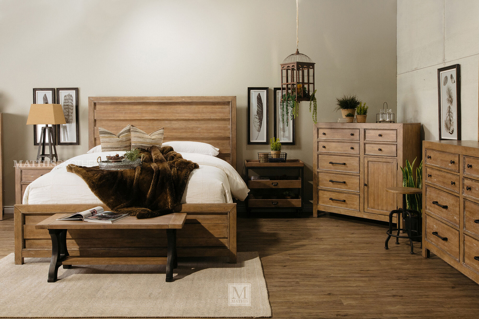fourpiece contemporary bedroom set in light oak  mathis