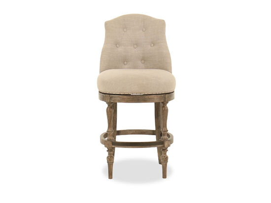 """Button-Tufted 45"""" Bar Stool in Beige"""