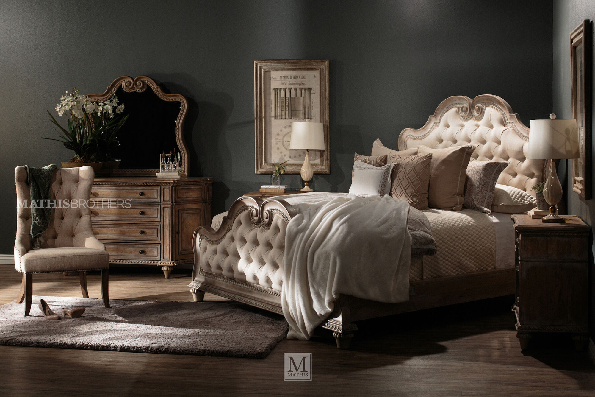 70 raised arch formal button tufted panel bed
