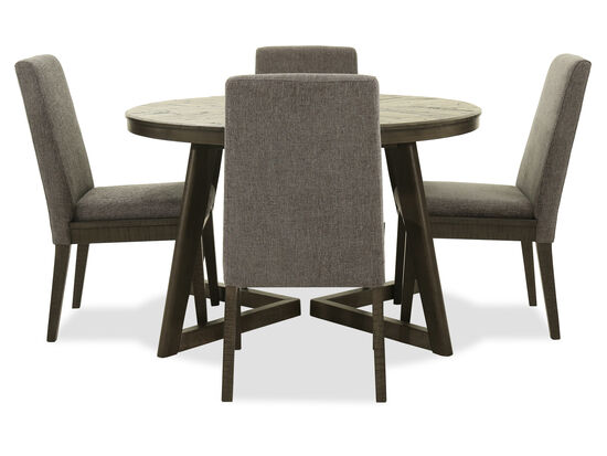 Five-Piece Contemporary Round Dining Set in Gray