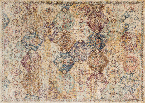 "Loloi Power Loomed 5'3"" x 7'8"" Rug in Ivory/Multi"