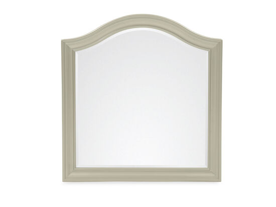 Curved Contemporary Youth Landscape Mirror in Silver