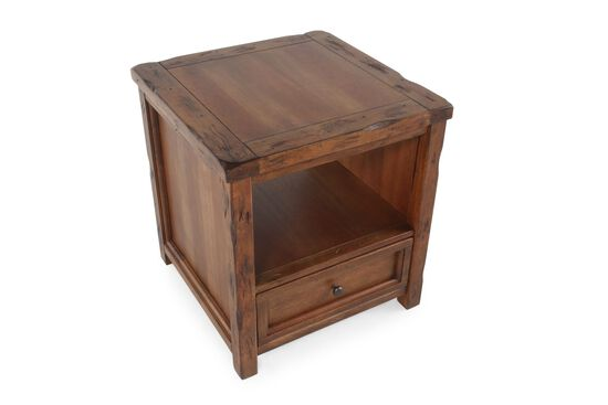 Square Contemporary End Tablein Chestnut Brown