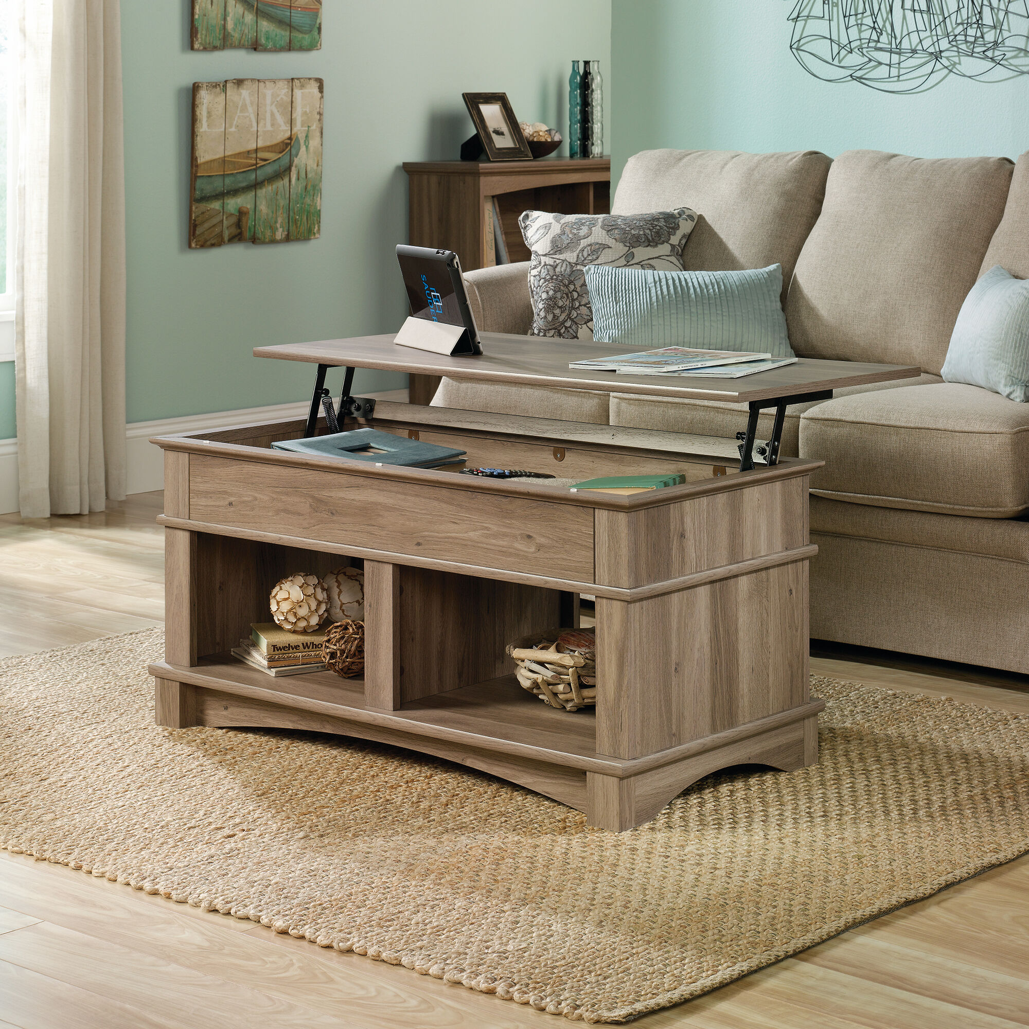Rectangular lift top contemporary coffee table in