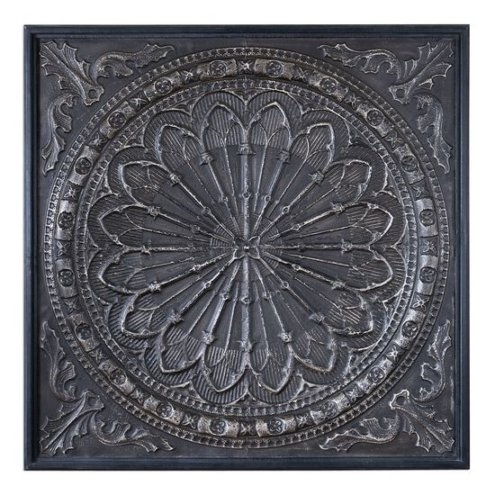 Embossed Iron Wall Art in Antique Chocolate Brown