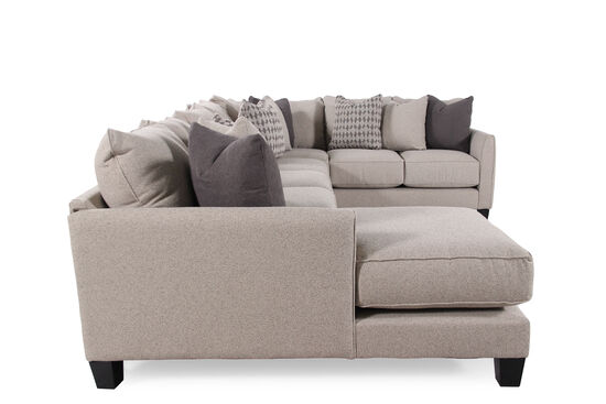 "Three-Piece Contemporary 159"" Sectional in Nutmeg Brown"
