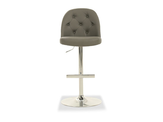 Leather Button Tufted Bar Stool in Gray