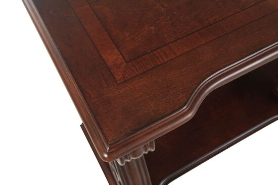 Scrolled Traditional Console Table in Walnut Brown