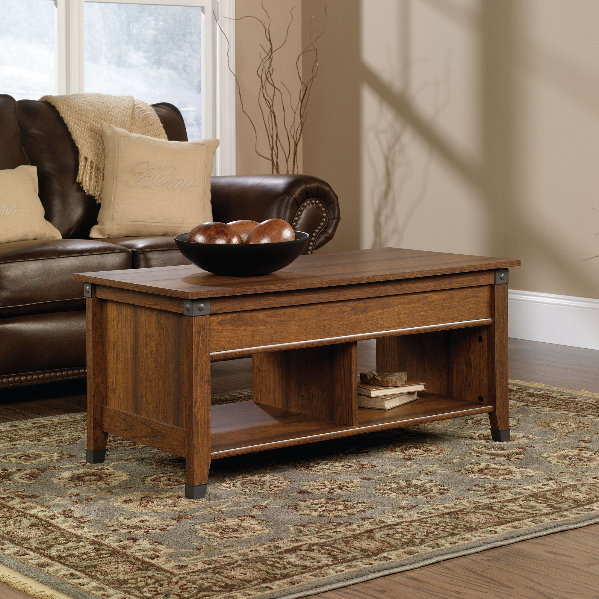 Rectangular lift top transitional coffee table in washington cherry mathis brothers furniture