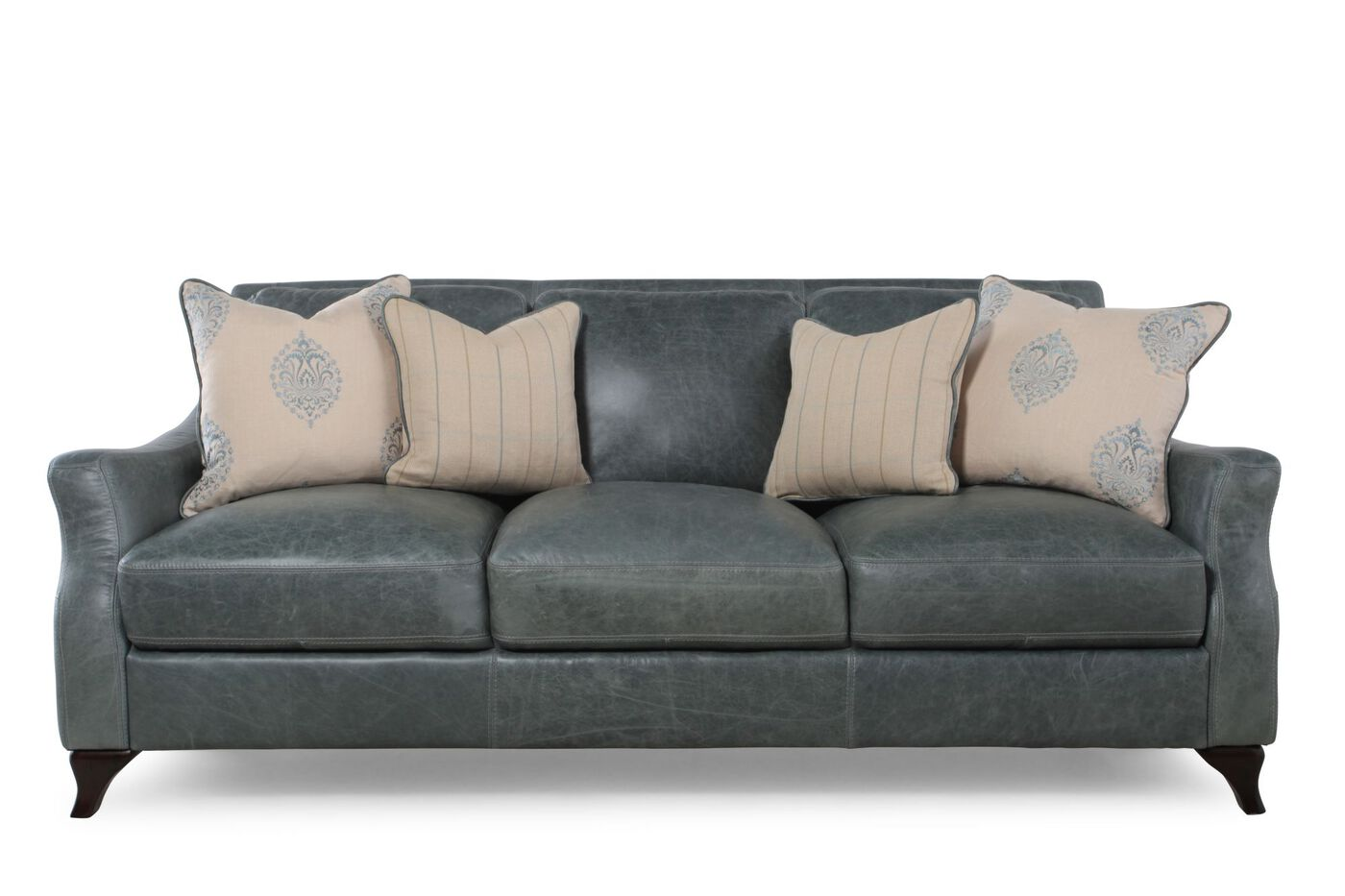 distressed leather sofa in teal mathis brothers furniture. Black Bedroom Furniture Sets. Home Design Ideas