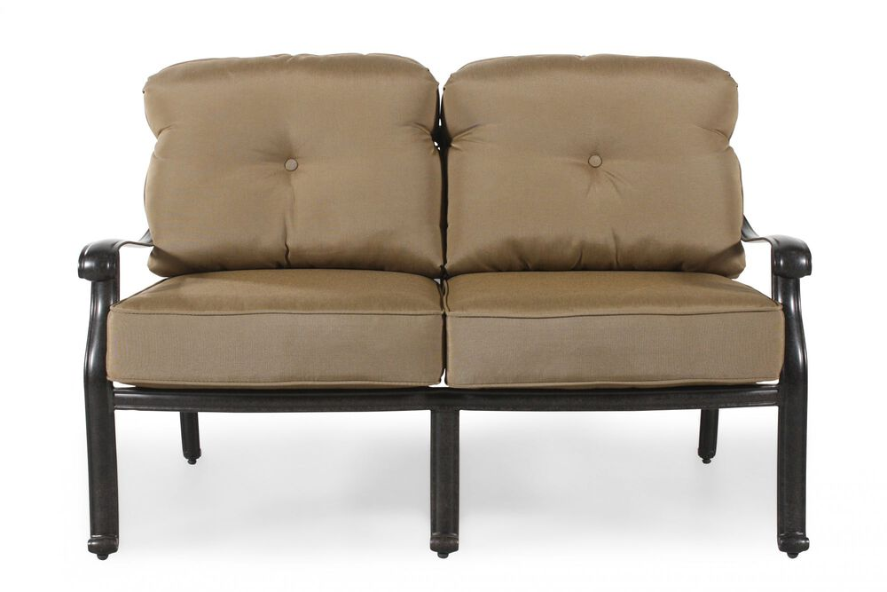 Button-Tufted Aluminum Loveseat with Cushion in Khaki