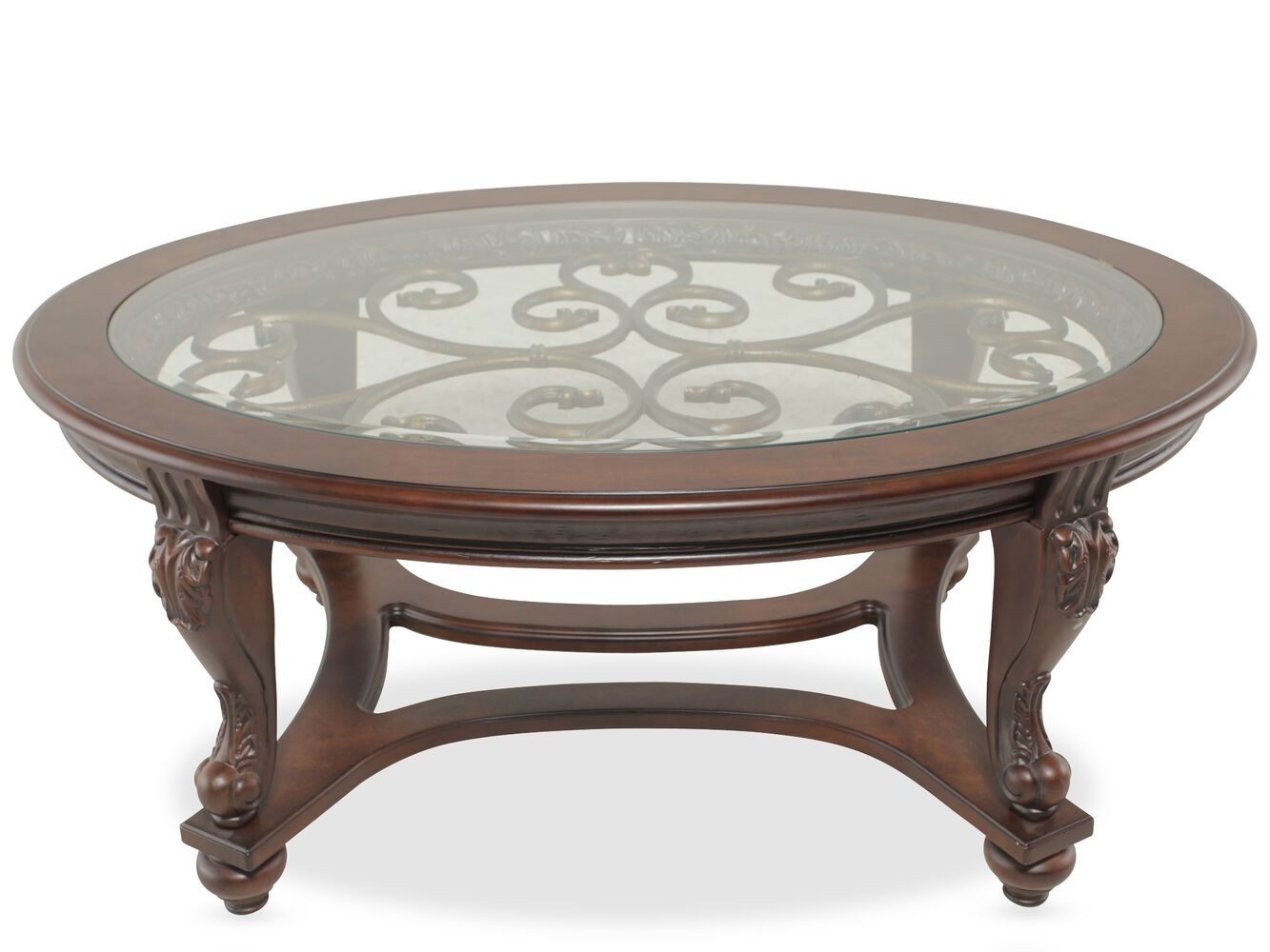 GlassInsert Oval Traditional Cocktail Table In Brown Mathis - Ashley furniture oval coffee table