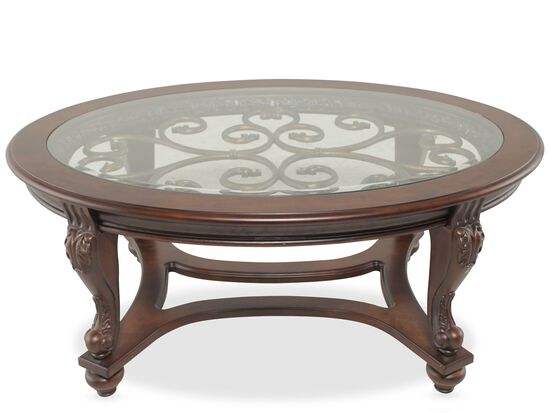 Glass Insert Oval Traditional Cocktail Table In Brown Mathis Brothers Furniture