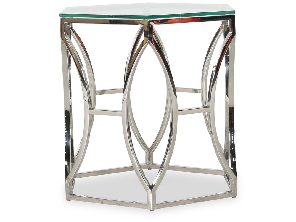 Hexagonal Glam Side Table in Polished Stainless Steel