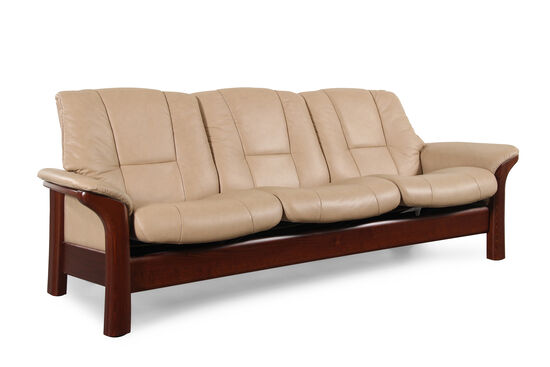 "Contemporary Leather 90.5"" Reclining Sofa in Brown"
