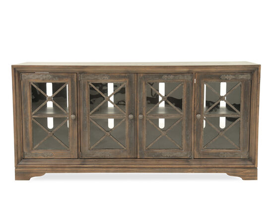 Metal Fretwork Refined Romantic Luxury Pipe Creek Home Entertainment Media Console in Medium Brown