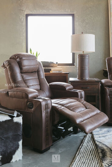 Microfiber Nailhead-Trimmed 38'' Power Recliner in Brown