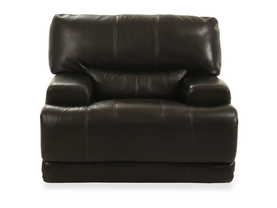 """Traditional 39"""" Leather Recliner in Blackberry"""