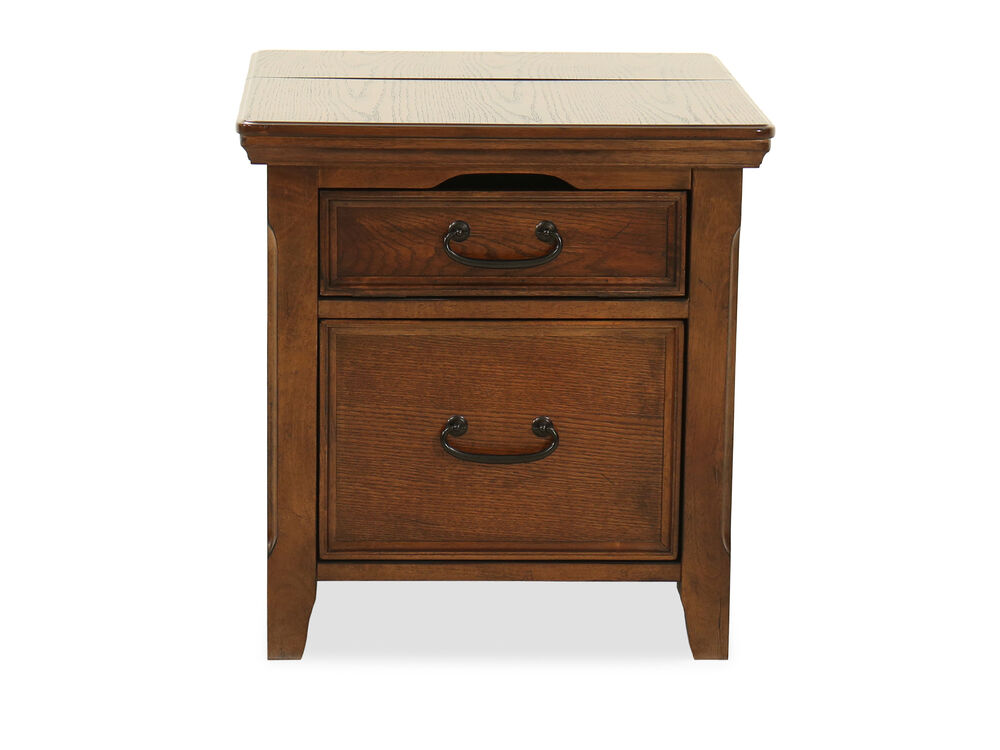 Square Country End Table With Workspace In Dark Oak
