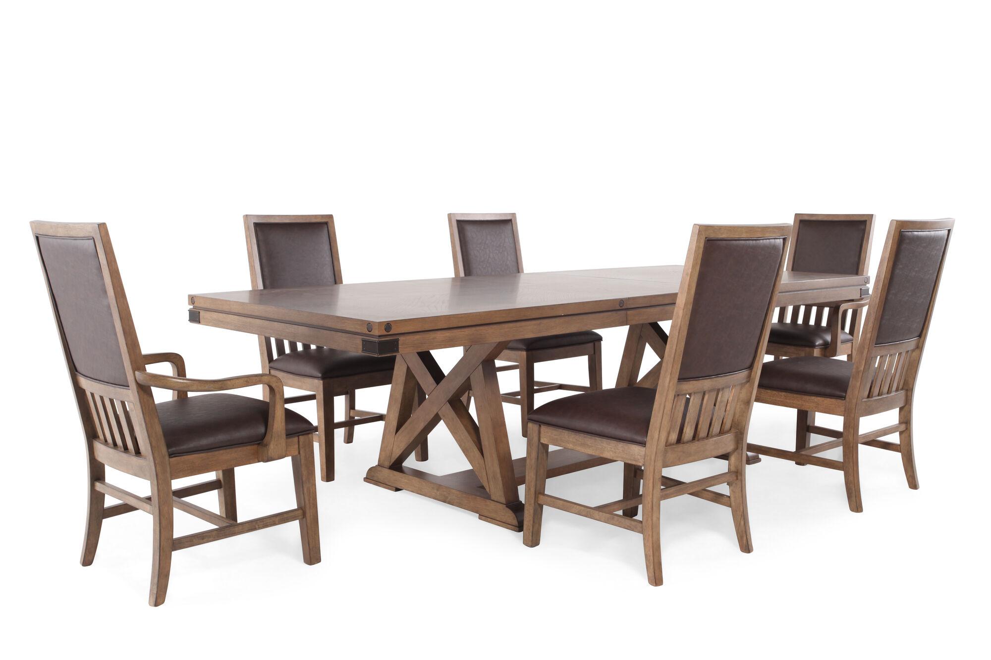seven piece transitional 108 39 39 dining set in medium brown mathis brothers furniture. Black Bedroom Furniture Sets. Home Design Ideas