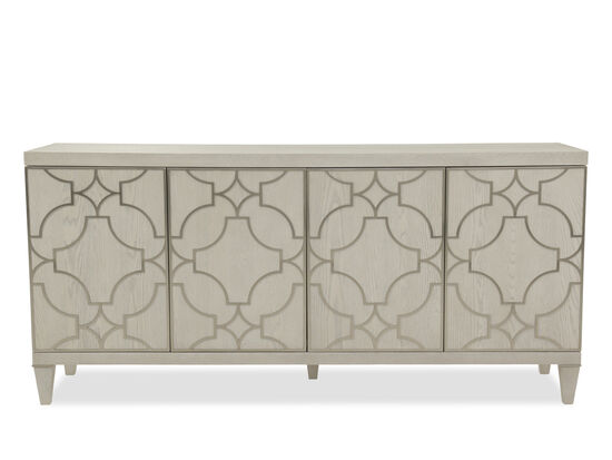 Grille Overlay Modern Entertainment Console in Light White