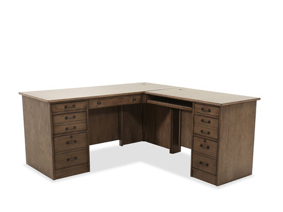 "Two-Piece Traditional 65"" Desk & Return in Brown"
