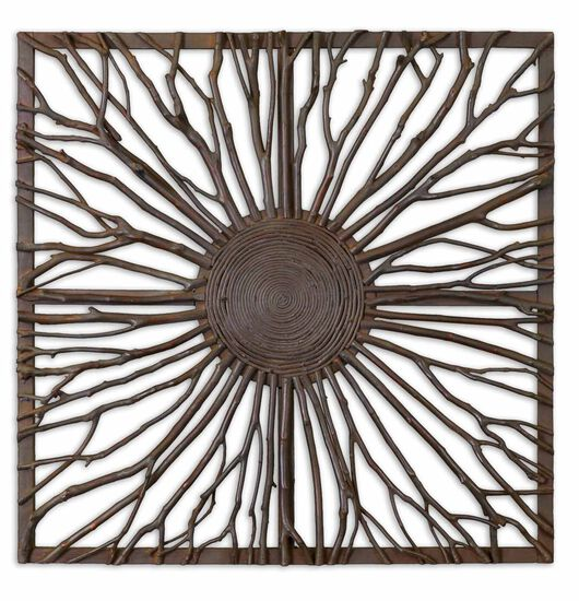 Square Branched Wall Art in Brown