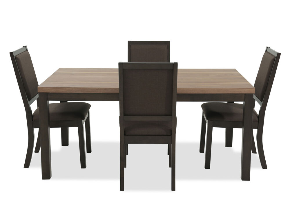 "Five-Piece Contemporary 66"" Slab-Top Dining Set in Dark Brown"