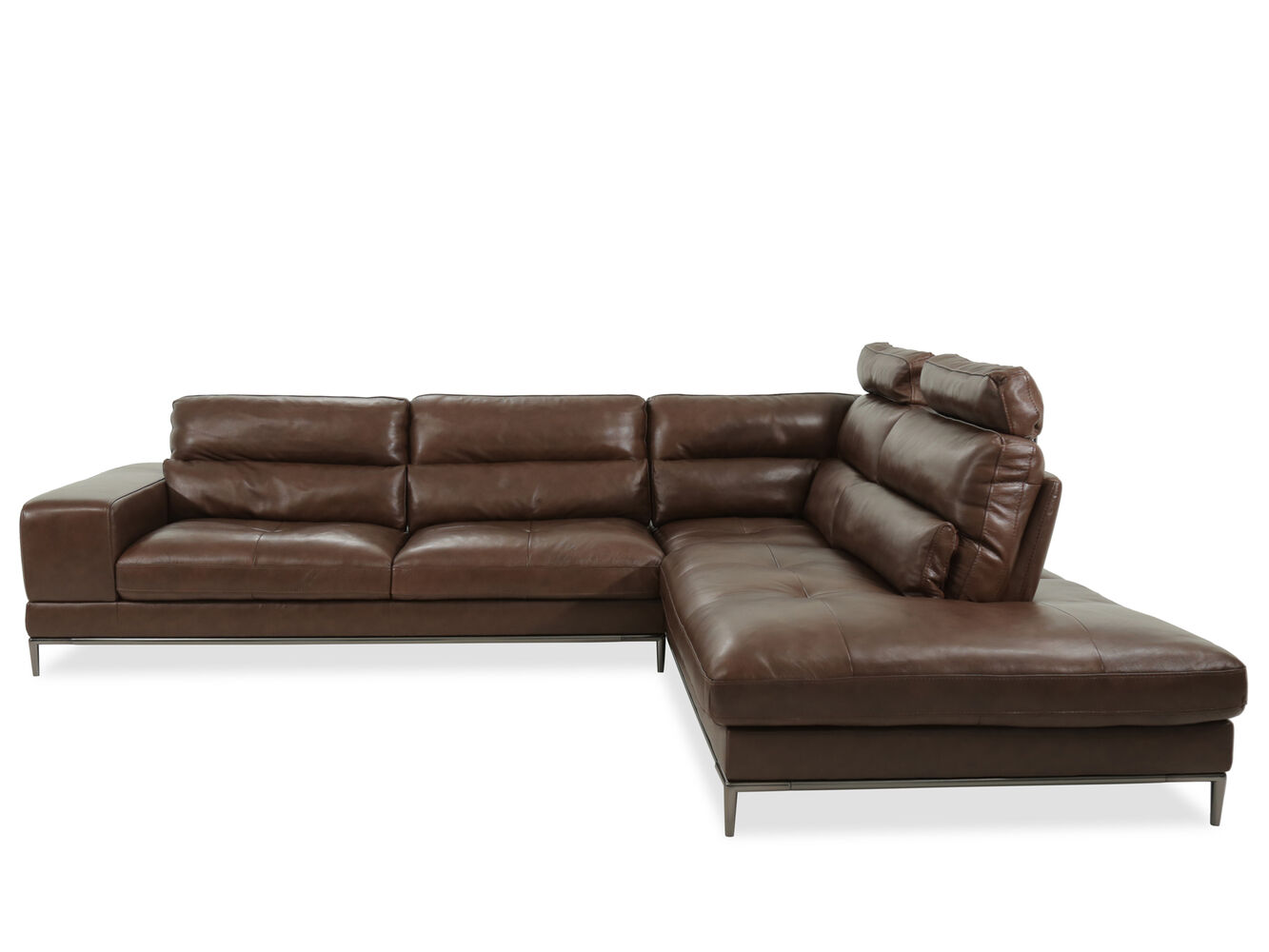 Two piece leather sectional in brown mathis brothers for 8 piece leather sectional sofa