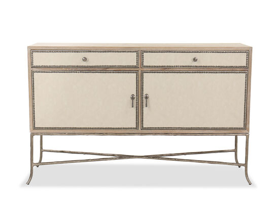 "Nailhead-Accented 66.5"" Dining Buffet in Brown"