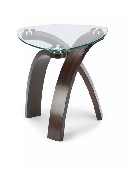 Triangular Glass-Top Contemporary End Table in Brown