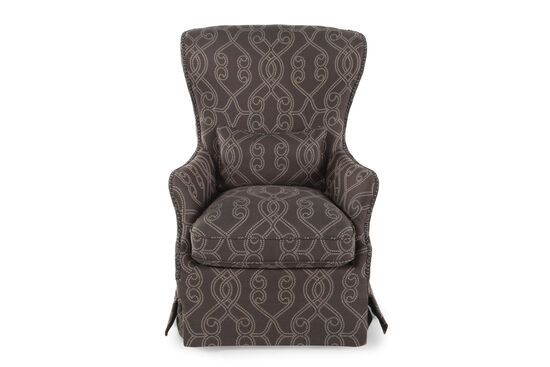 "Traditional Skirted 31"" Accent Chair in Dark Gray Granite"