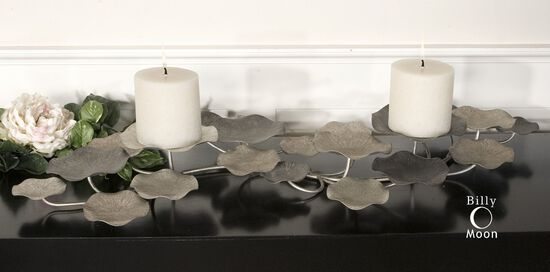 Lotus Two-Candle Holder in Champagne Silver/Pewter