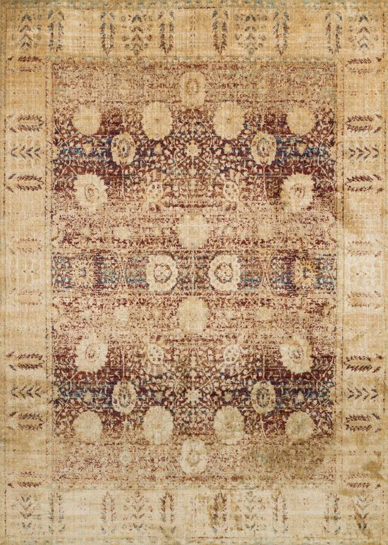 """Transitional 2'-7""""x8'-0"""" Rug in Red/Gold"""