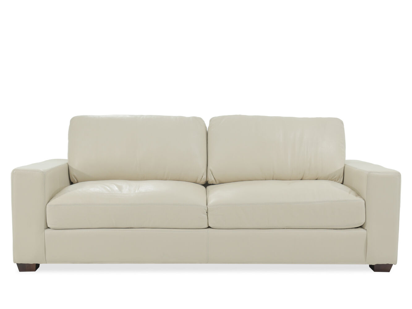 Casual 99 leather sofa in cream mathis brothers furniture for Mathis brothers living room furniture