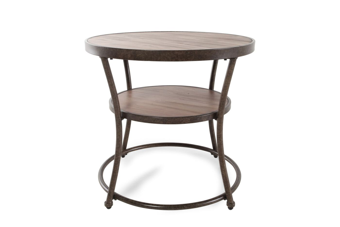 Small Round Rustic Side Tables: Distressed Round Casual End Table In Rustic Pine