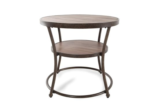 Distressed Round Casual End Tablein Rustic Pine