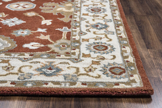 "Traditional Hand-Tufted 2'6""  x  8' Runner Rug in Rust"