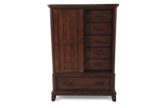 """65"""" Six-Drawer Sliding Door Chest in Brown Oak"""