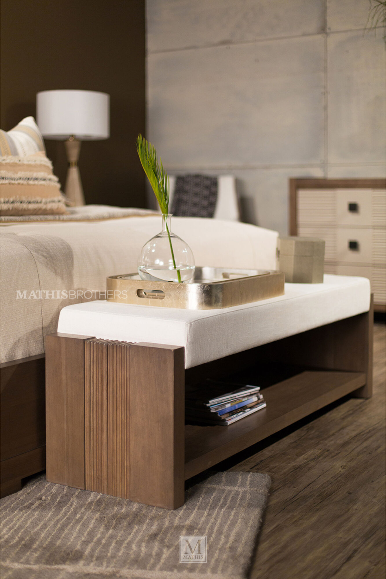 Contemporary 60 Quot Bed Bench In Beige Mathis Brothers