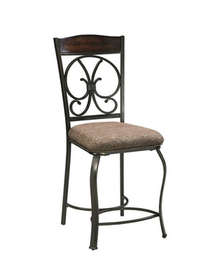 """Casual 44"""" Abstract Patterned Bar Stool in Brown"""