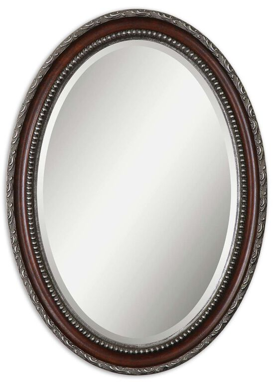 "35"" Beaded Frame Oval Mirror in Distressed Dark Mahogany"