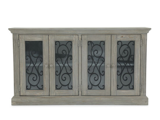 36'' Scrolled Doors Casual Cabinet in Chipped Gray