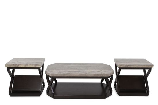 Three-Piece Contemporary Table Set in Dark Brown